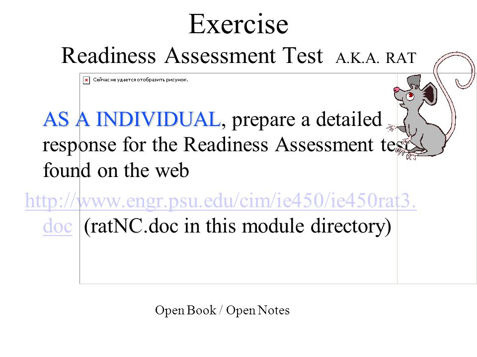 Exercise Readiness Assessment Test A.K.A. RAT