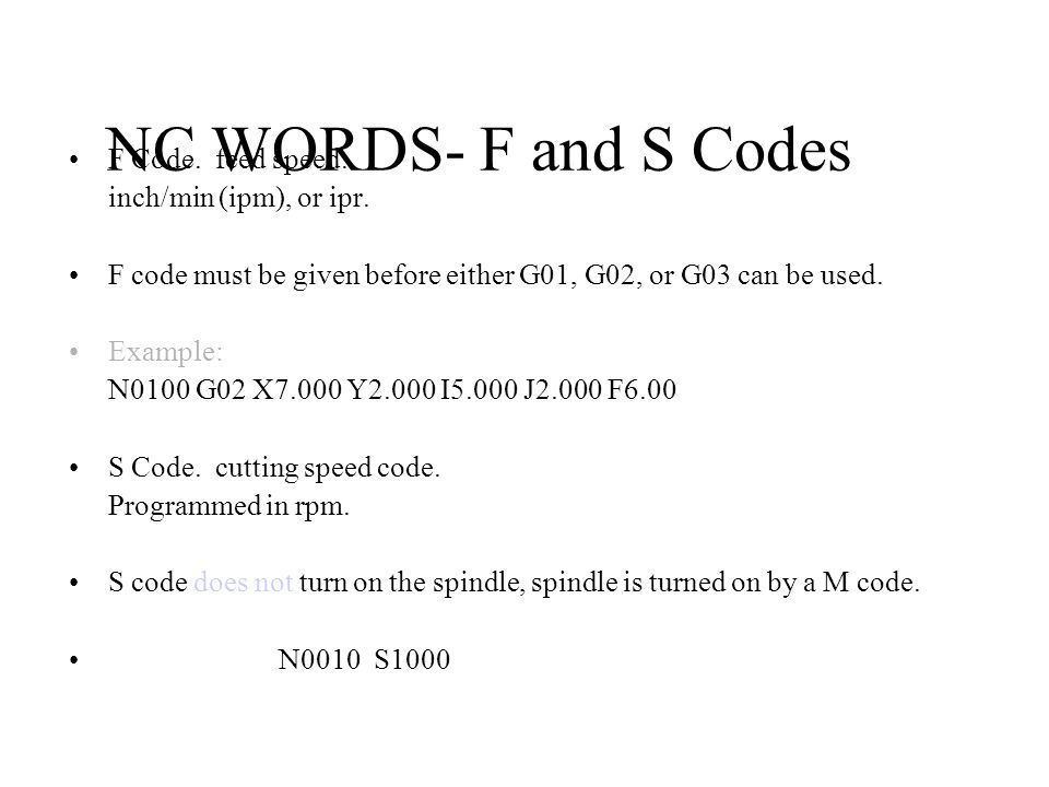 NC WORDS- F and S Codes F Code. feed speed. inch/min (ipm), or ipr.