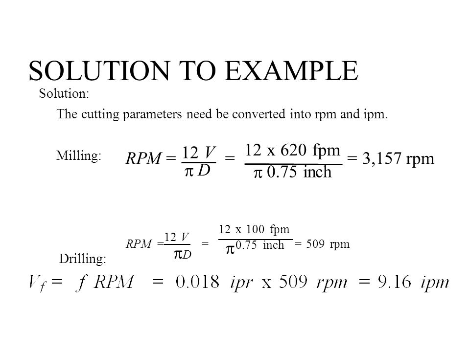 SOLUTION TO EXAMPLE 12 V  D 12 x 620 fpm  0.75 inch RPM = = = 3,157