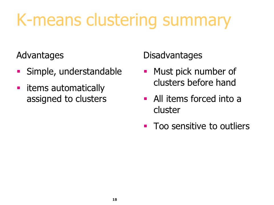 K-means clustering summary