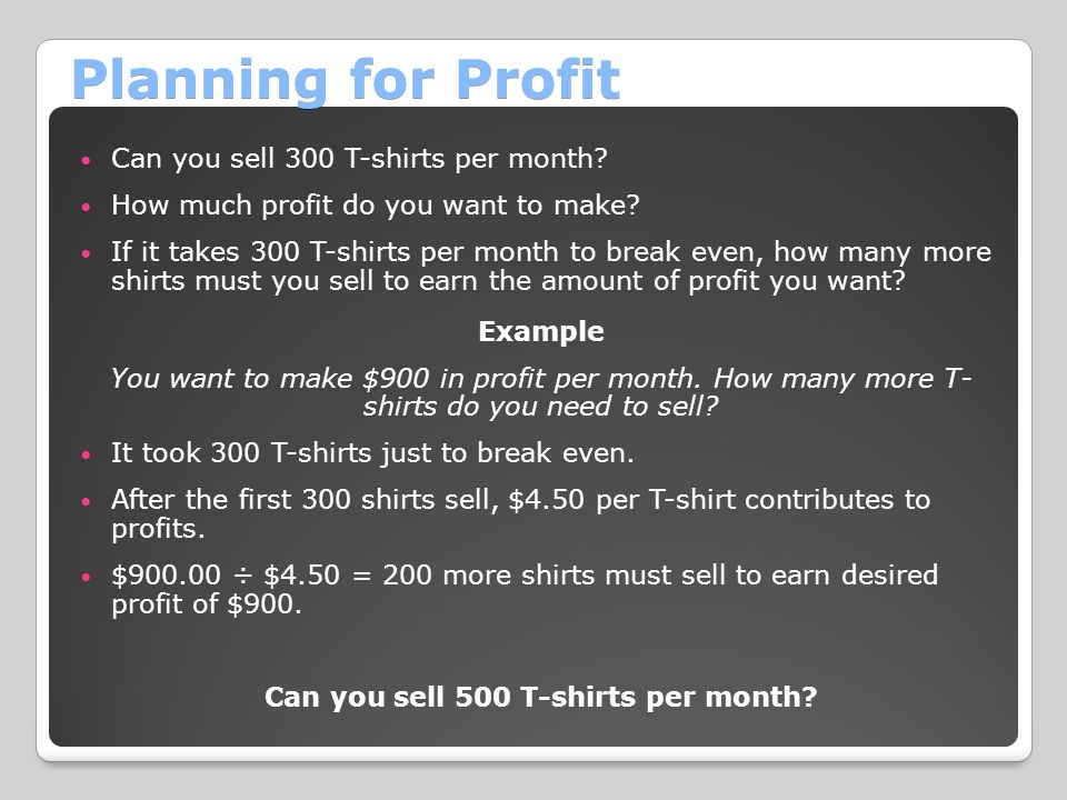 Can you sell 500 T-shirts per month