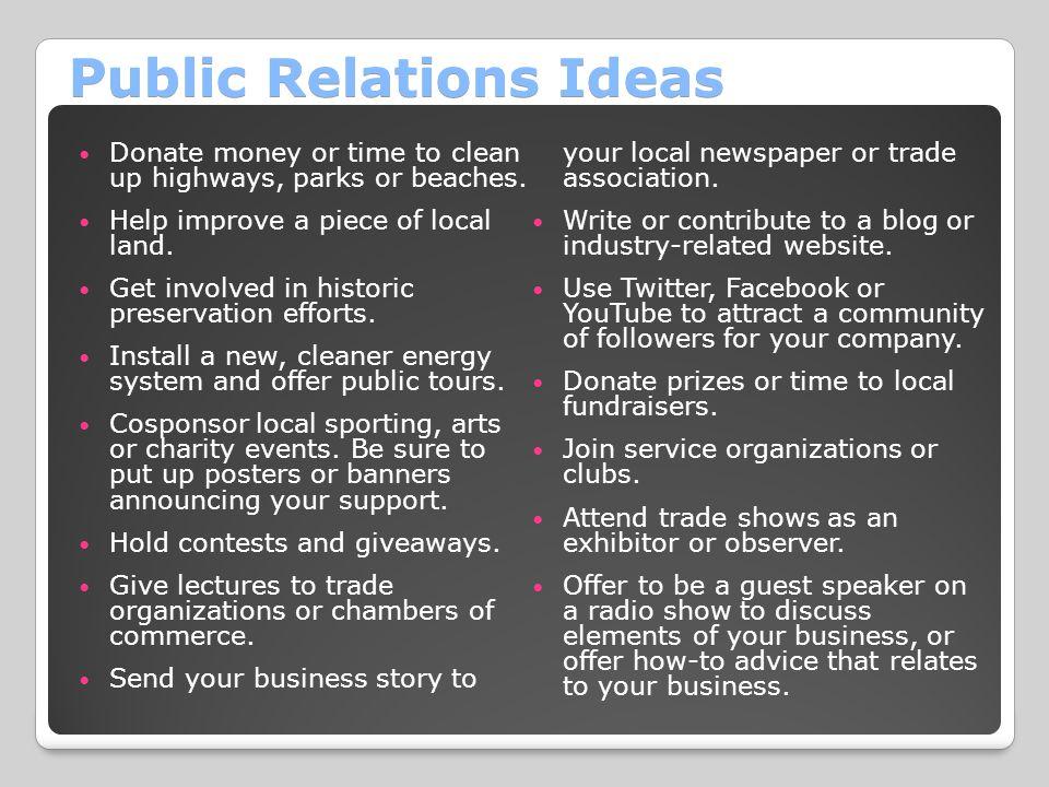 Public Relations Ideas