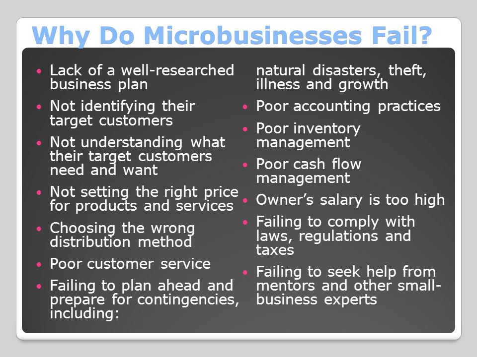 Why Do Microbusinesses Fail
