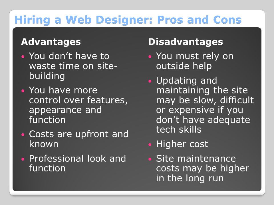 Hiring a Web Designer: Pros and Cons