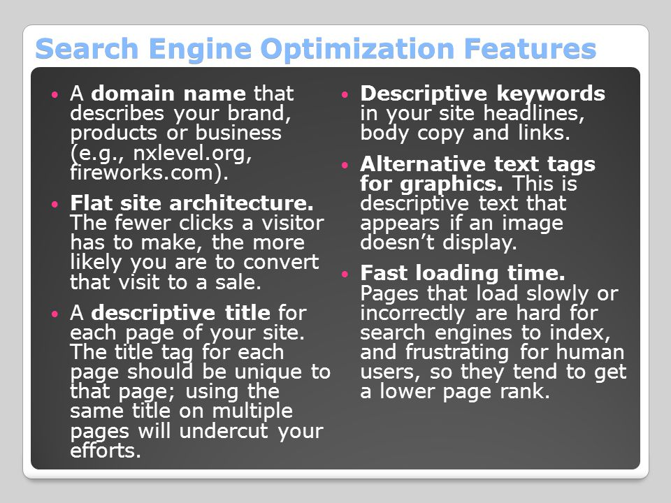 Search Engine Optimization Features