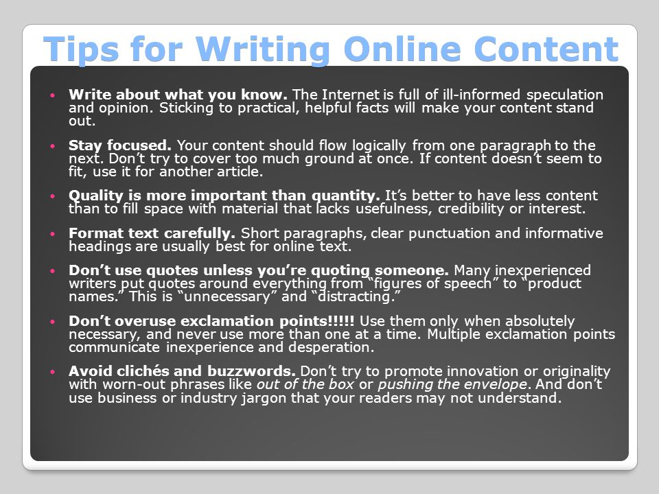 Tips for Writing Online Content