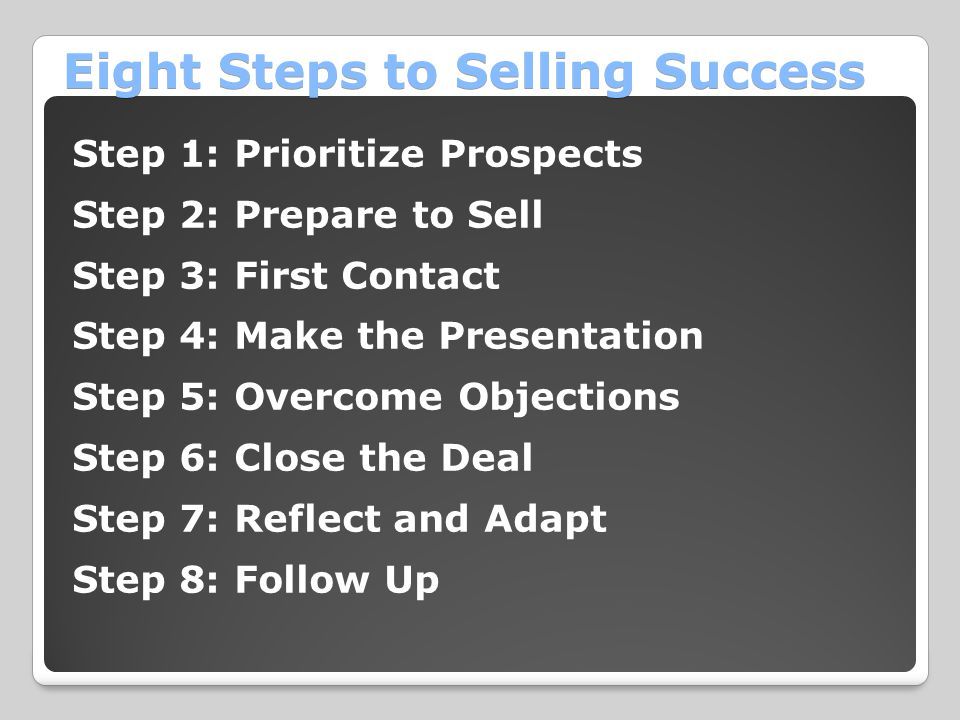 Eight Steps to Selling Success