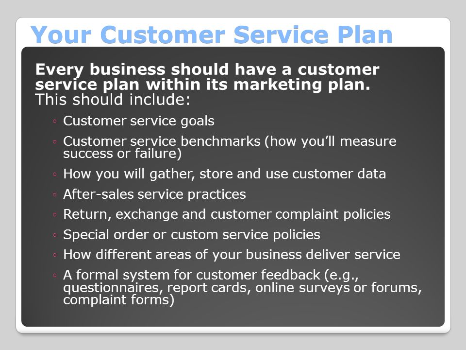 Your Customer Service Plan