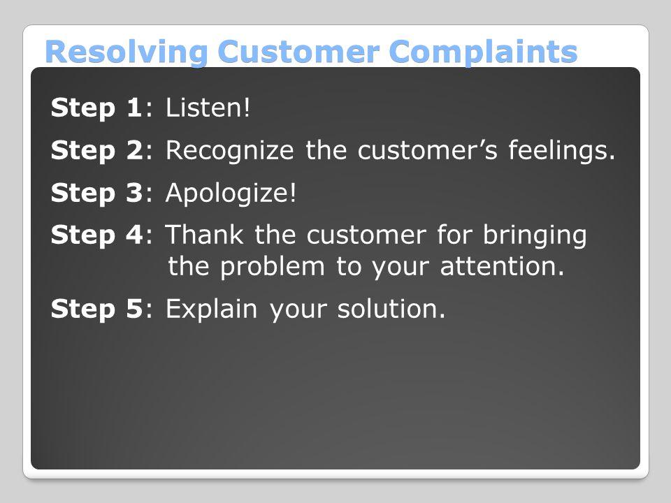 Resolving Customer Complaints