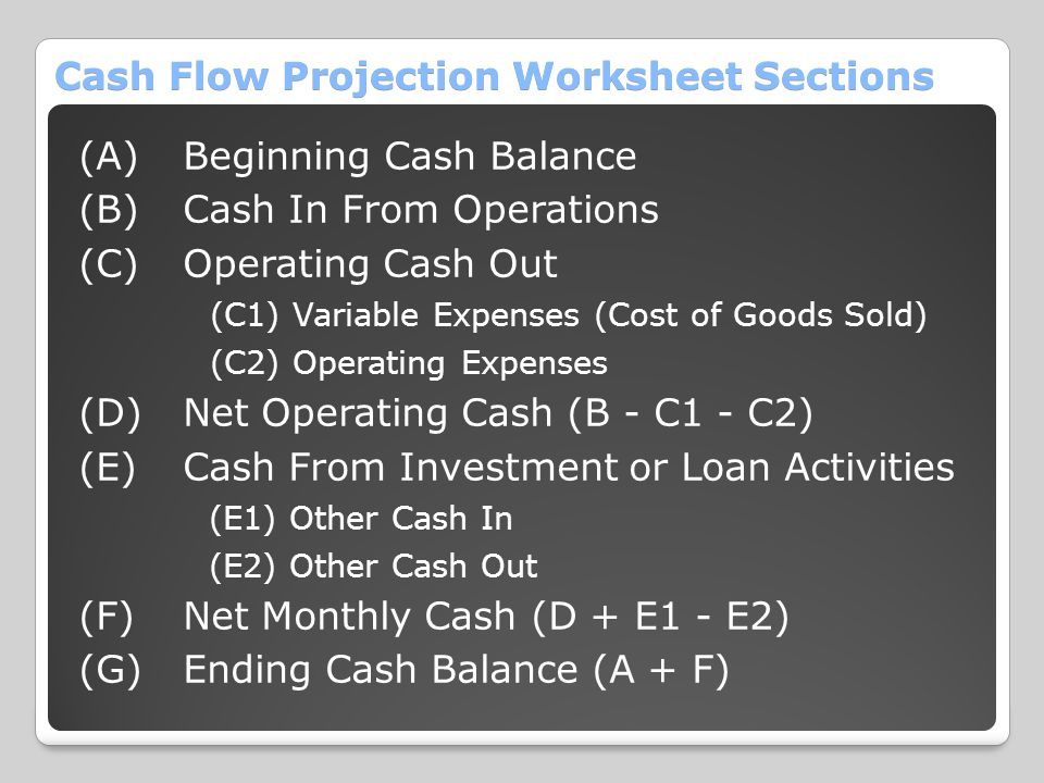 Cash Flow Projection Worksheet Sections