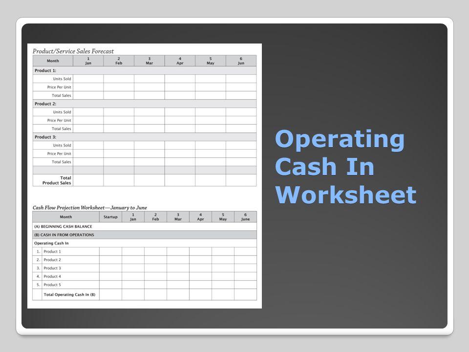 Operating Cash In Worksheet