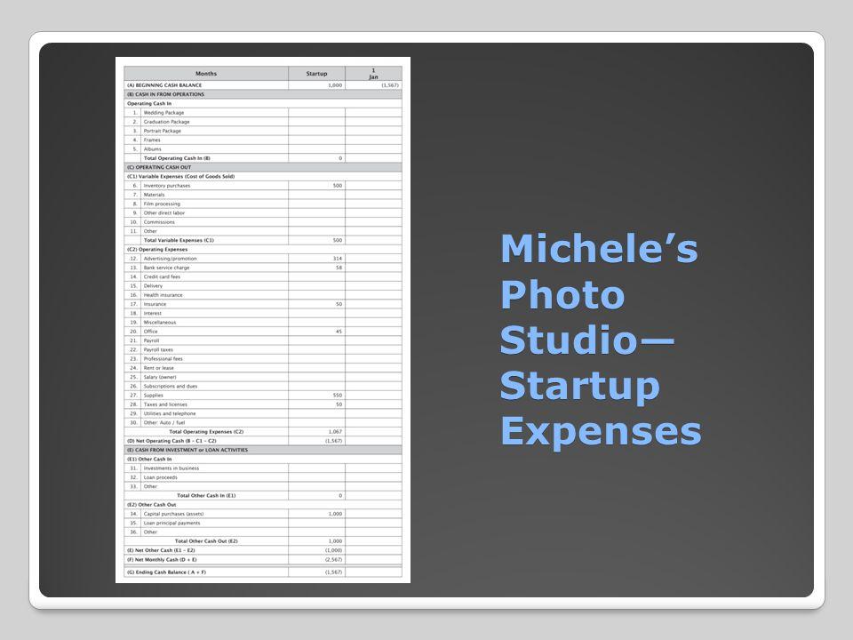 Michele's Photo Studio— Startup Expenses