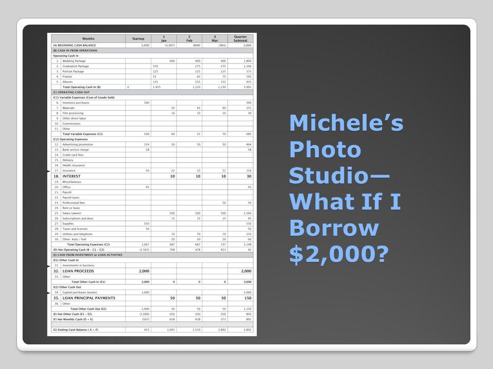 Michele's Photo Studio— What If I Borrow $2,000