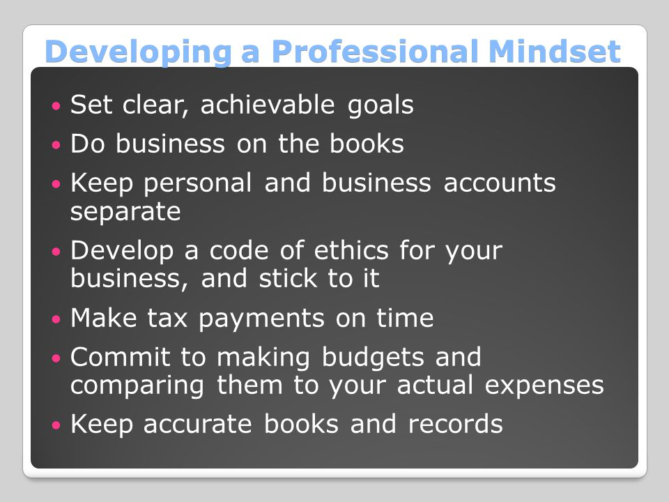 Developing a Professional Mindset