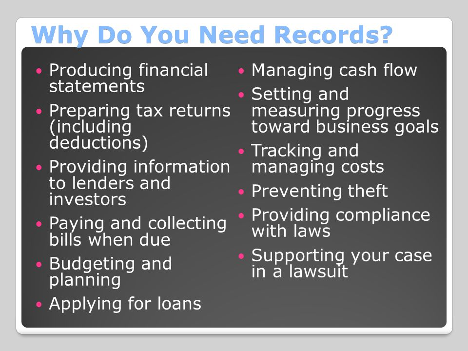 Why Do You Need Records Producing financial statements