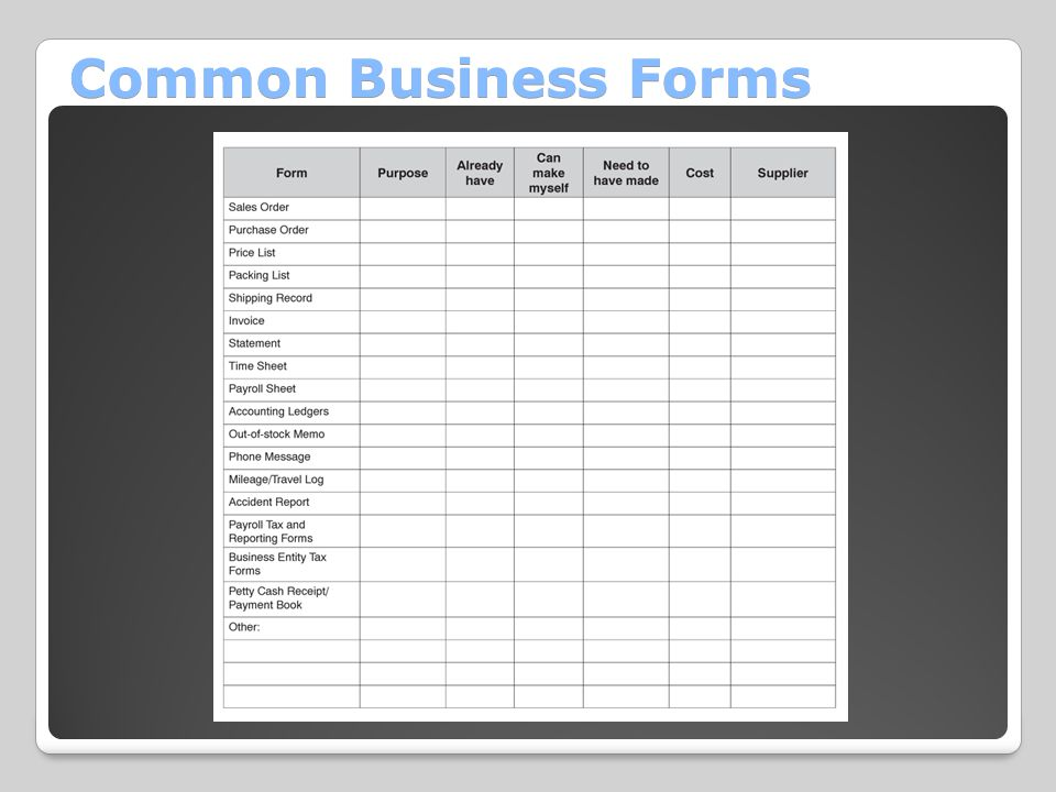 Common Business Forms