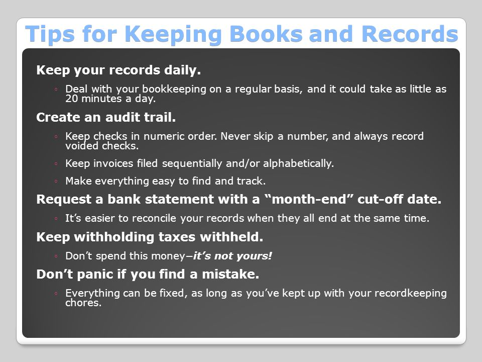Tips for Keeping Books and Records