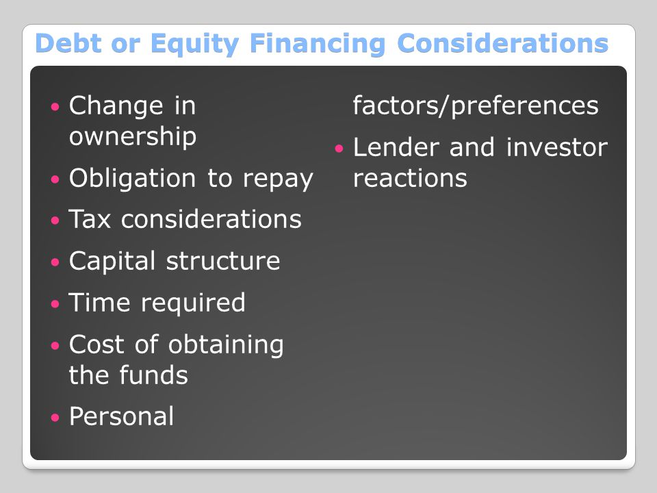 Debt or Equity Financing Considerations