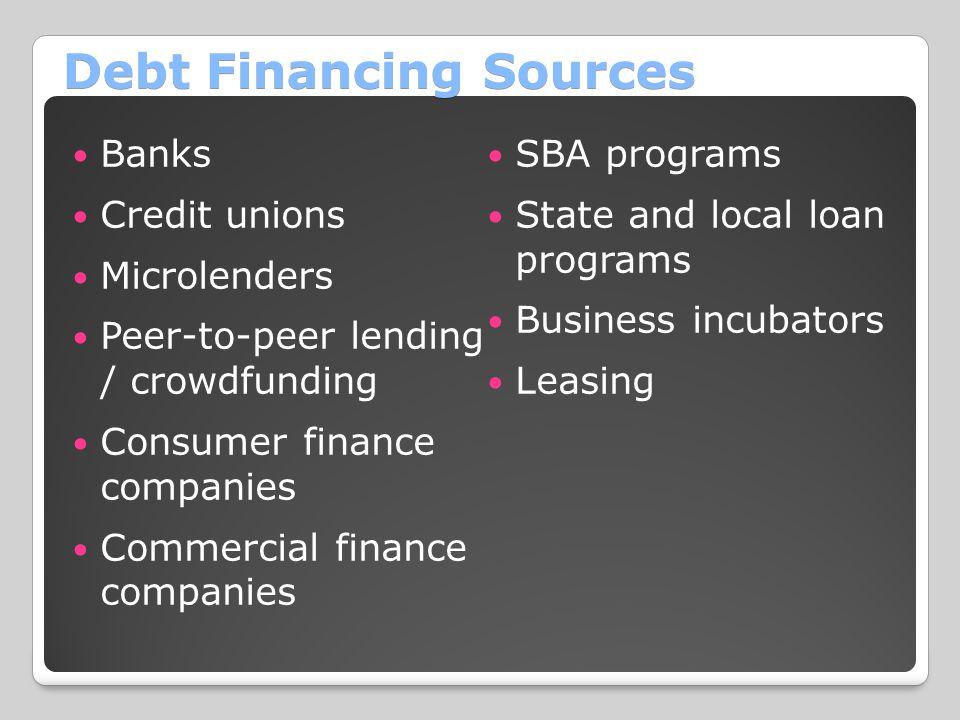 Debt Financing Sources