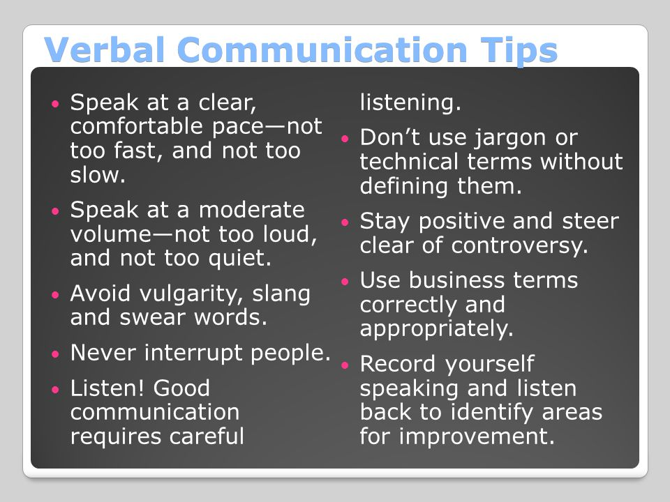Verbal Communication Tips