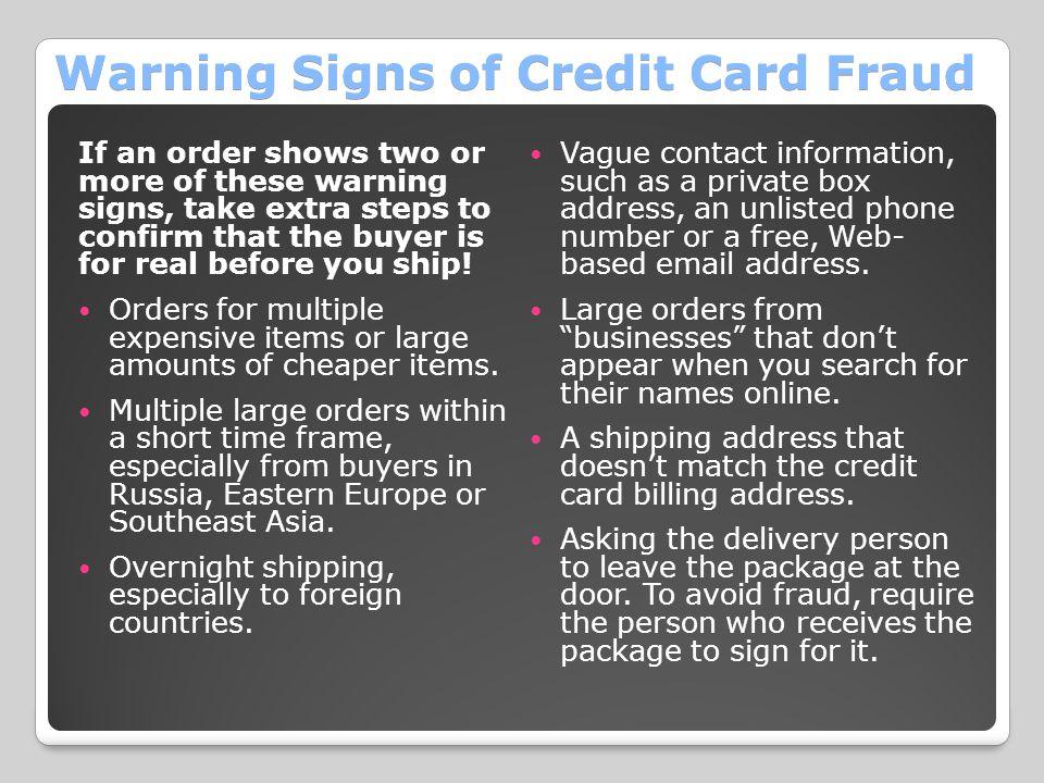 Warning Signs of Credit Card Fraud