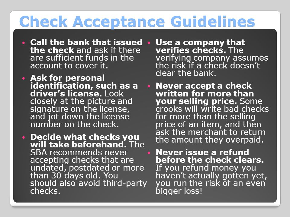 Check Acceptance Guidelines