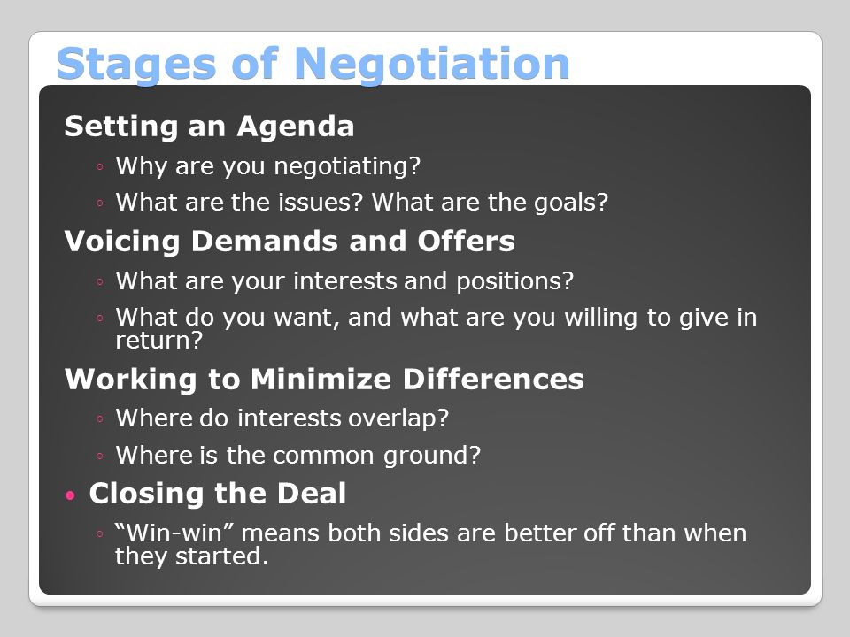 Stages of Negotiation Setting an Agenda Voicing Demands and Offers