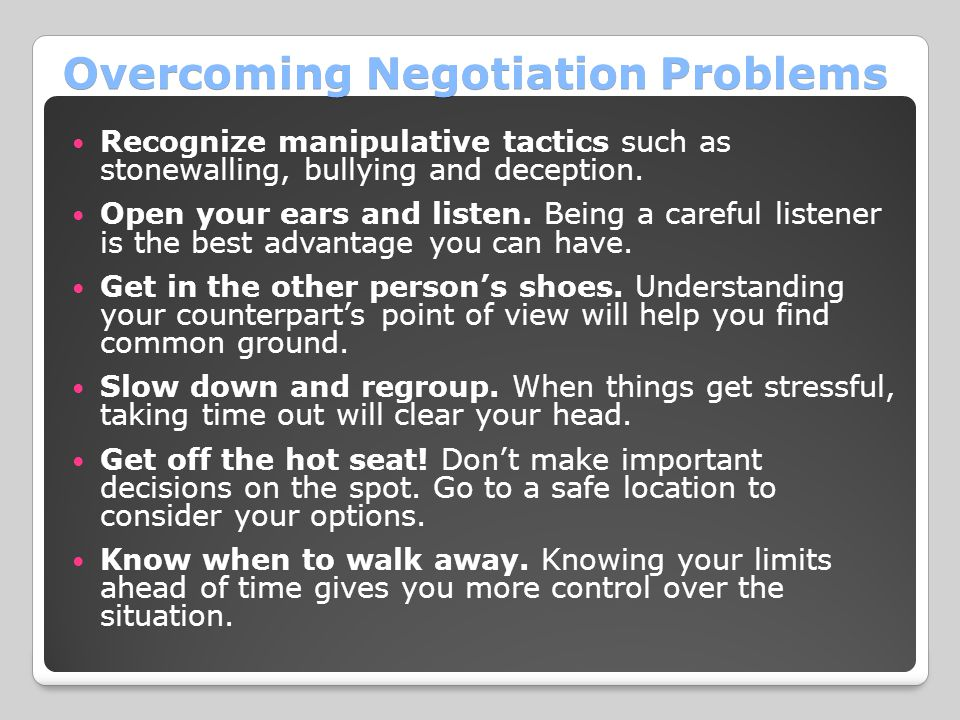 Overcoming Negotiation Problems