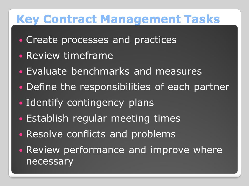Key Contract Management Tasks