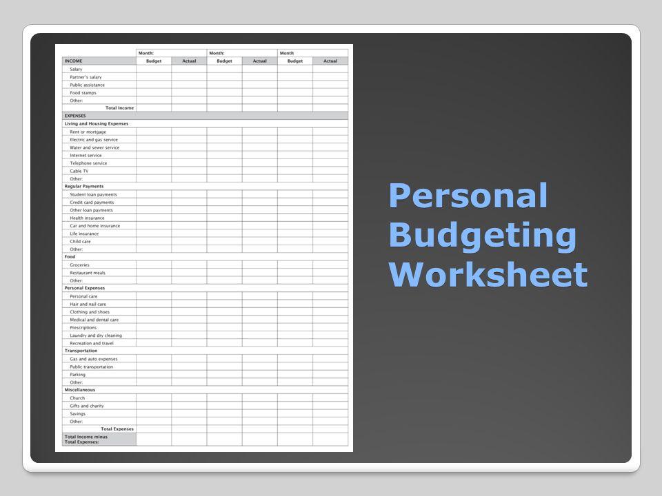 Personal Budgeting Worksheet