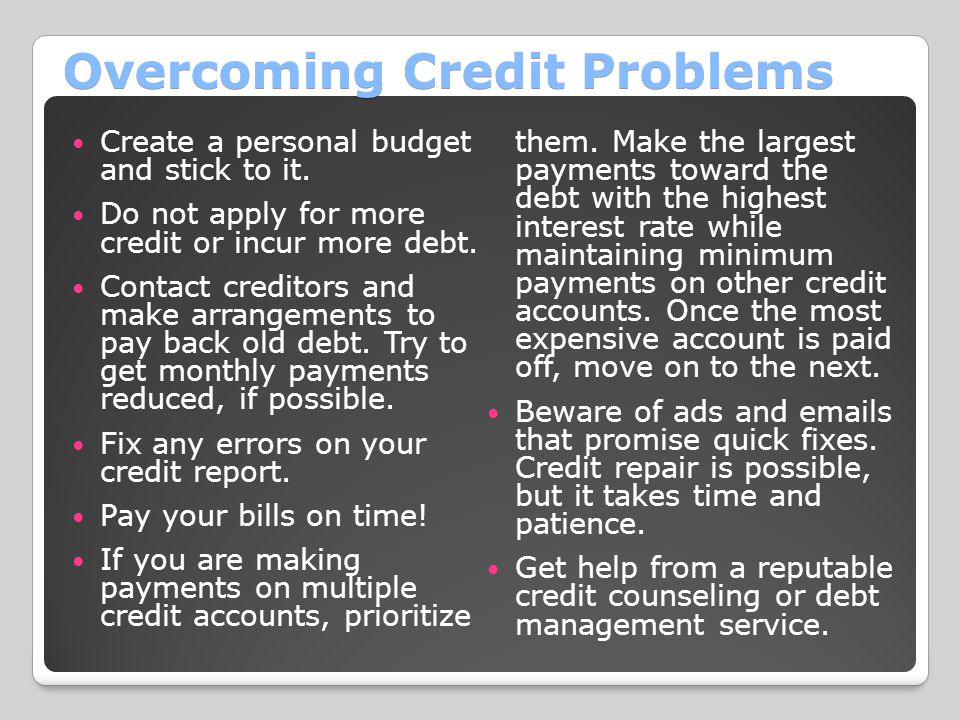 Overcoming Credit Problems