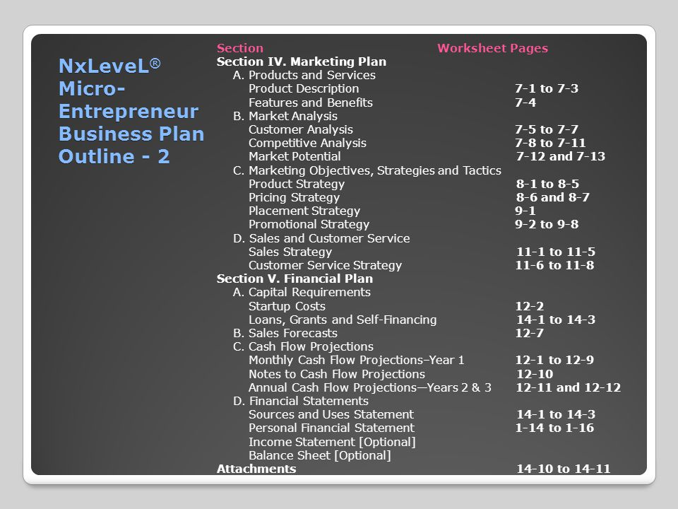 NxLeveL® Micro-Entrepreneur Business Plan Outline - 2