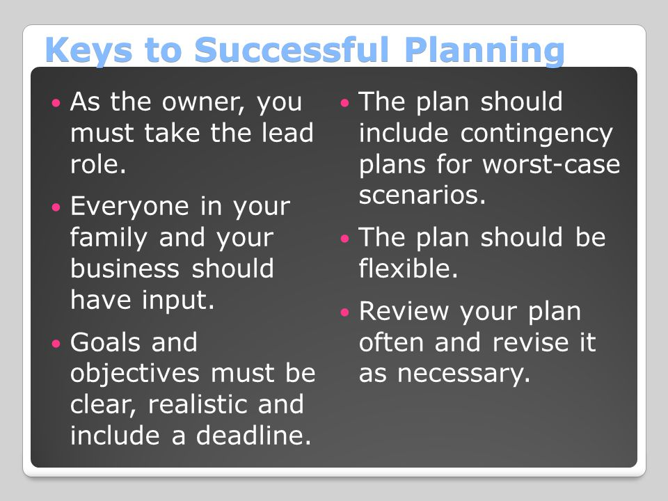 Keys to Successful Planning