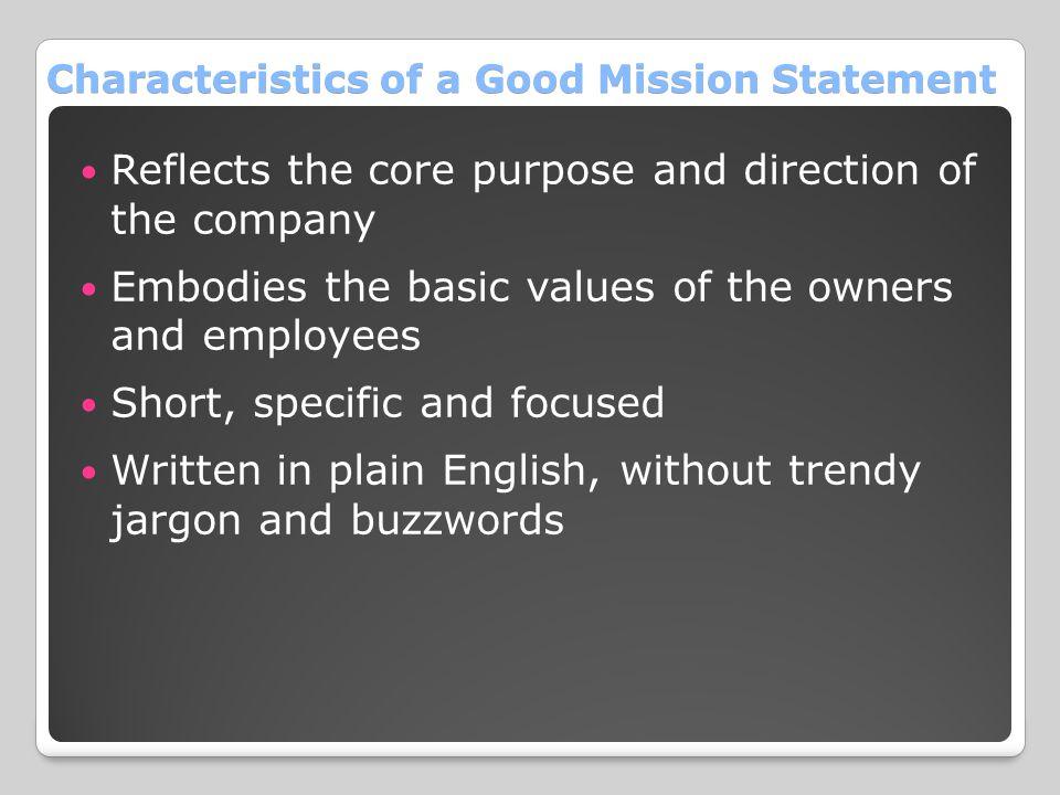 Characteristics of a Good Mission Statement