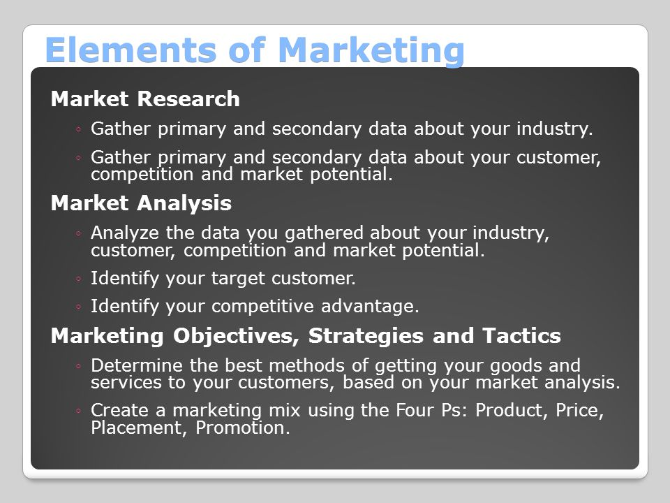 Elements of Marketing Market Research Market Analysis