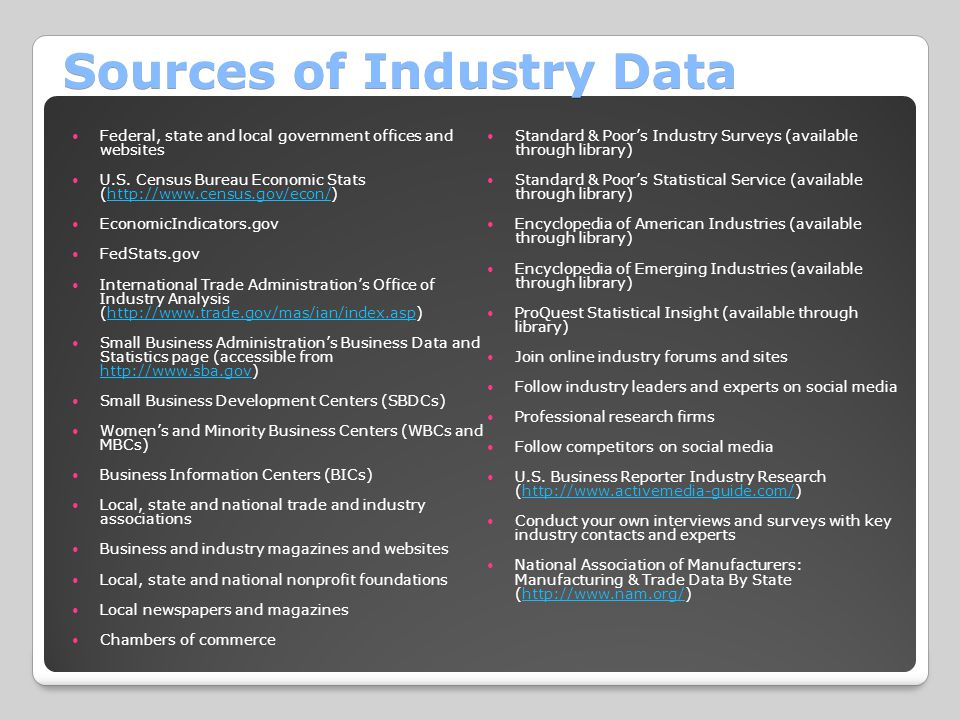 Sources of Industry Data