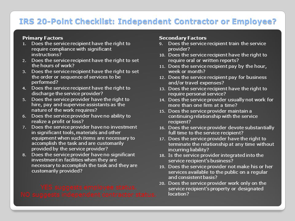 IRS 20-Point Checklist: Independent Contractor or Employee