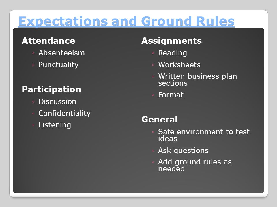 Expectations and Ground Rules