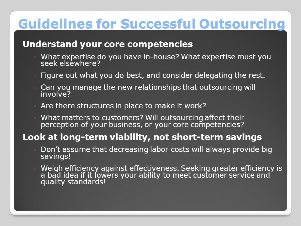 Guidelines for Successful Outsourcing