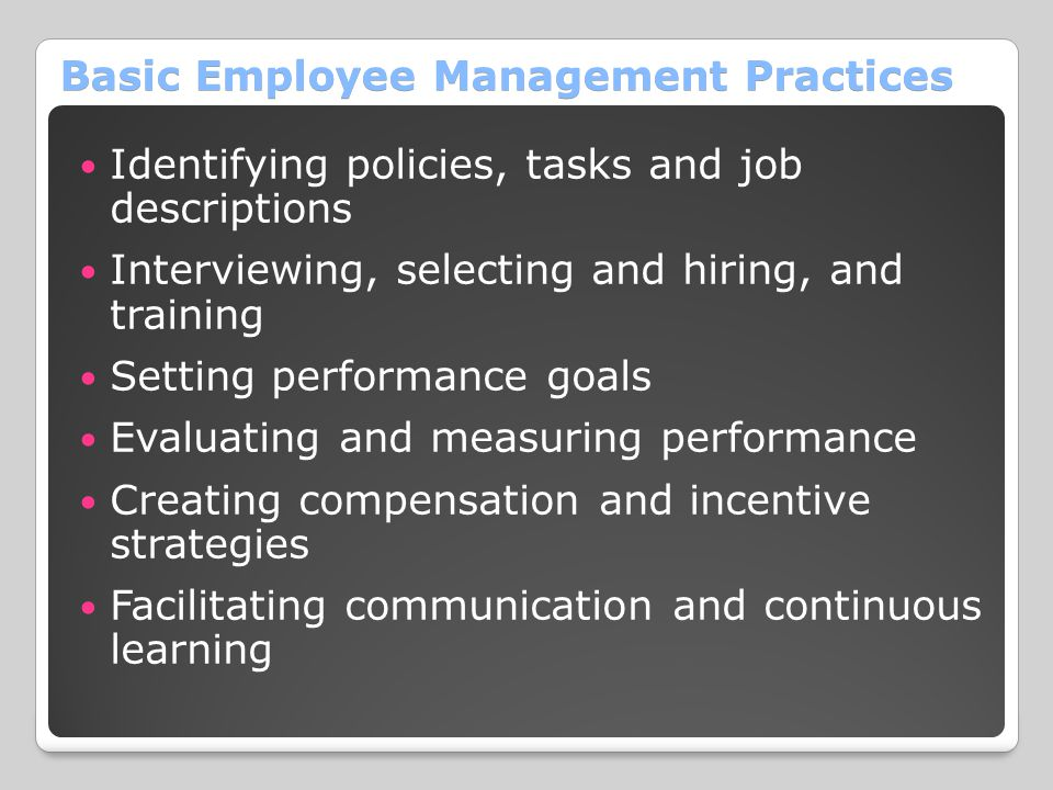 Basic Employee Management Practices