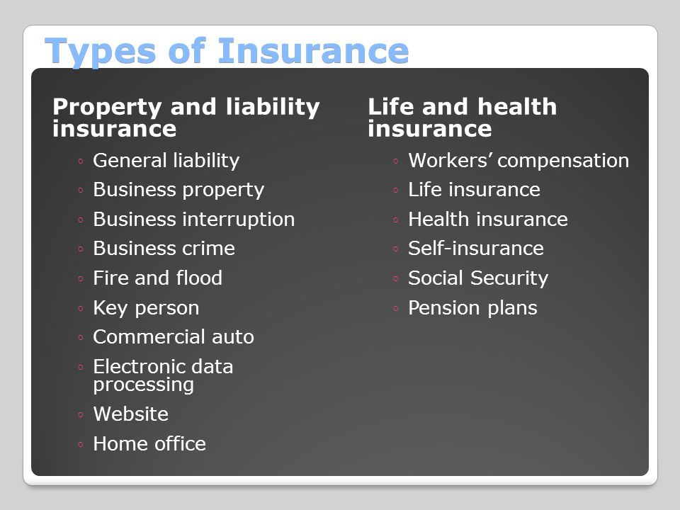 Types of Insurance Property and liability insurance