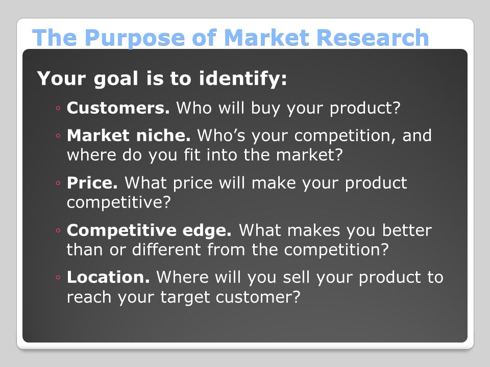 The Purpose of Market Research