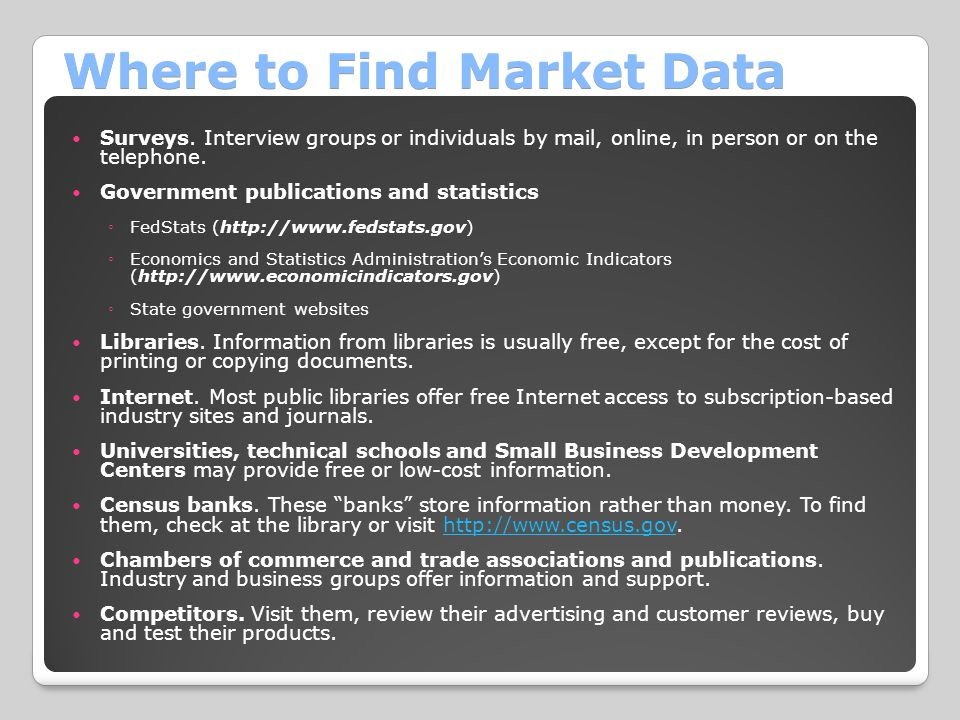 Where to Find Market Data