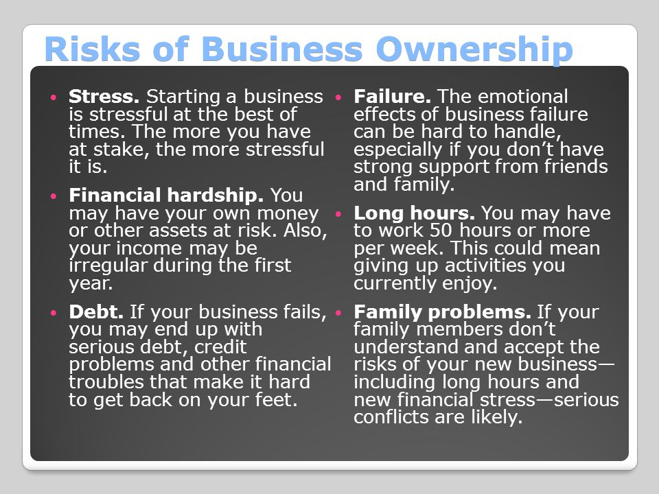 Risks of Business Ownership