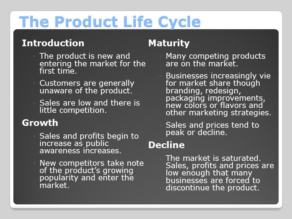 The Product Life Cycle Introduction Maturity Growth Decline