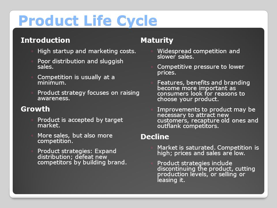 Product Life Cycle Introduction Maturity Growth Decline