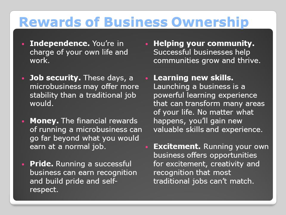 Rewards of Business Ownership