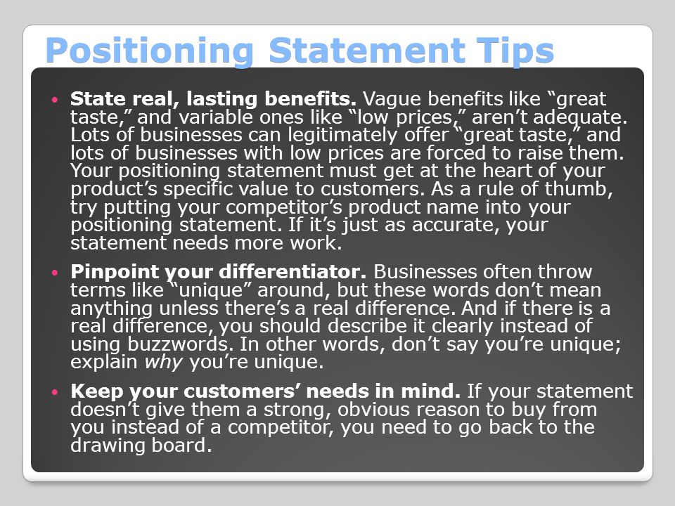 Positioning Statement Tips