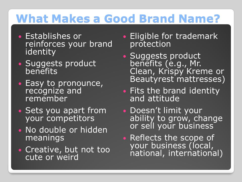What Makes a Good Brand Name