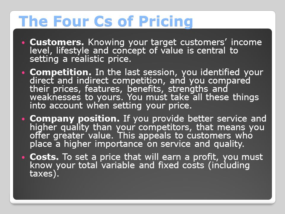 The Four Cs of Pricing